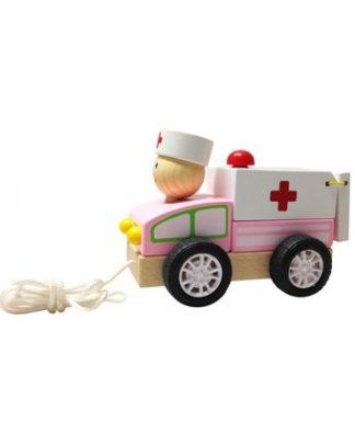 houten trekauto ambulance