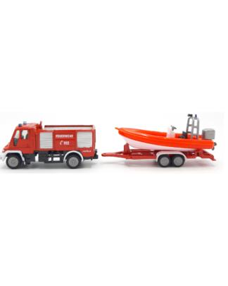 Siku 1636 Unimog met boot brandweer