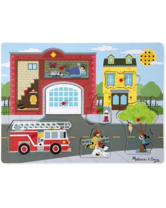 Melissa & Doug Puzzel met geluid brandweerkazerne